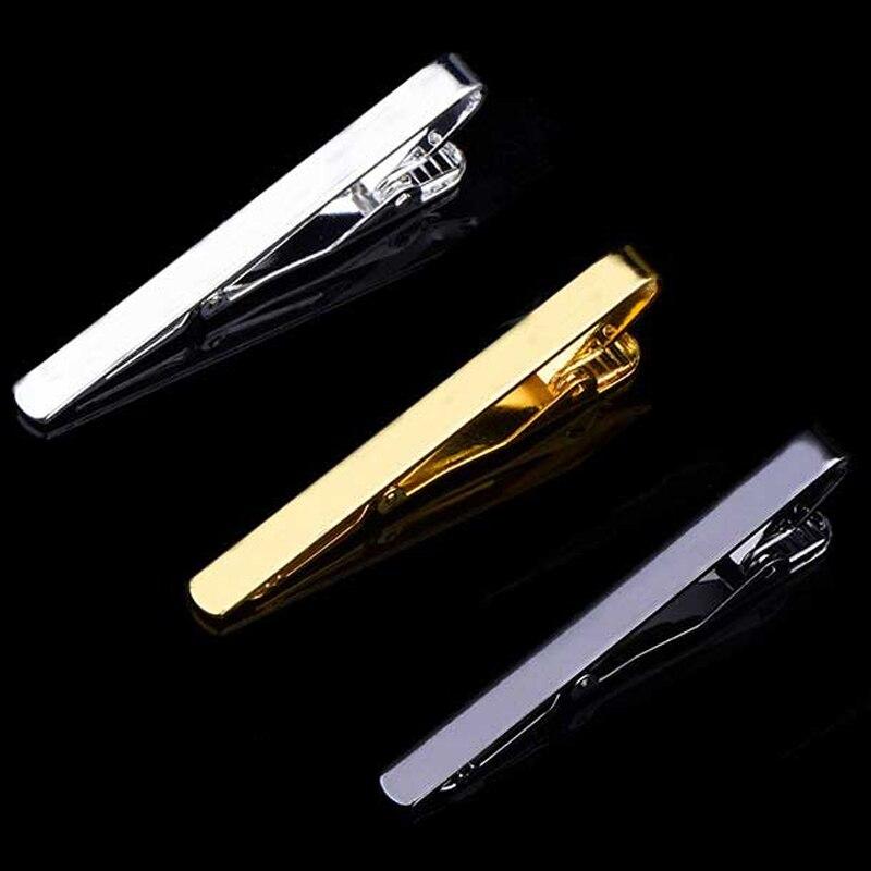 1 יחידות אופנה סגנון עניבת קליפ גברים מתכת כסף זהב טון פשוט בר אבזם מעשי עניבה אבזם