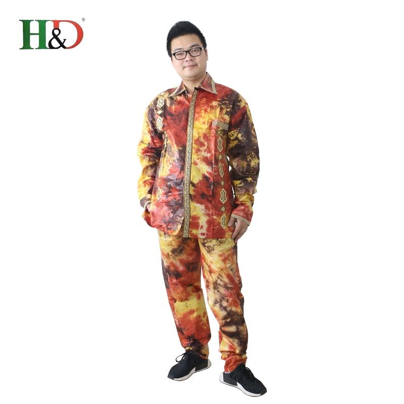 H & D lelaki lelaki Afrika sesuai baju pakaian tradisional dashiki - Pakaian kebangsaan - Foto 3