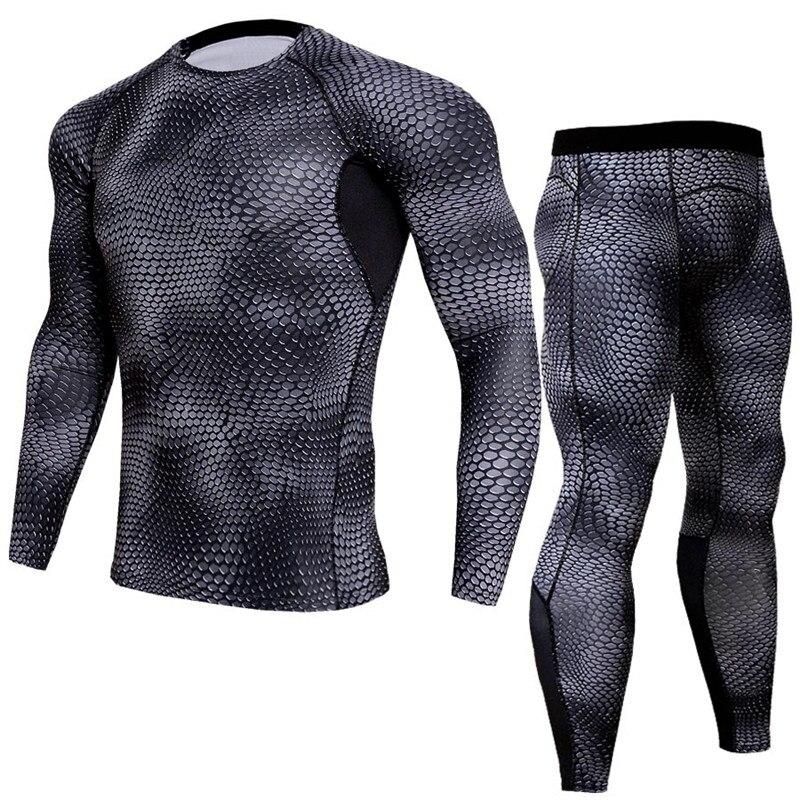 Men T Shirts Trousers Set 2 Piece Men's Sportswear Compression Suit Joggers Base Layer Shirt Leggings Snake Skin Print Tracksuit