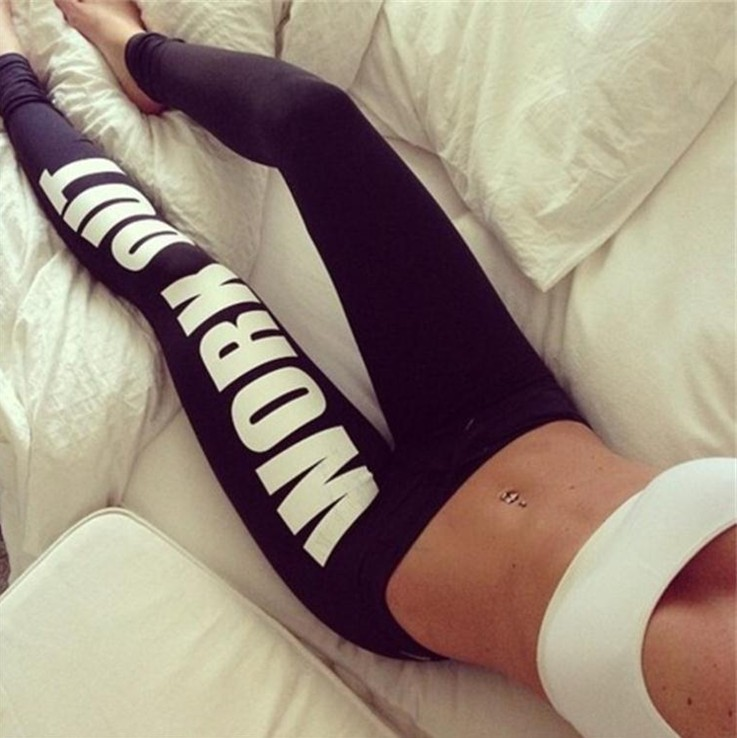 High Waisted Casual Womens   Leggings   Quality Woman Fitness Legins Work Out White Printing Comeonlover   Leggings   Black Fashion