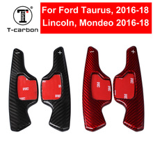 цена на Real Carbon Fiber Steering Wheel Shift Paddle Shifter Extension For Ford Taurus Lincoln Mondeo 2016-2018 Car Styling Interior
