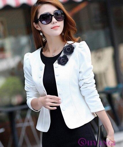women ladies autumn slim hot pink white all match suit blazer ...