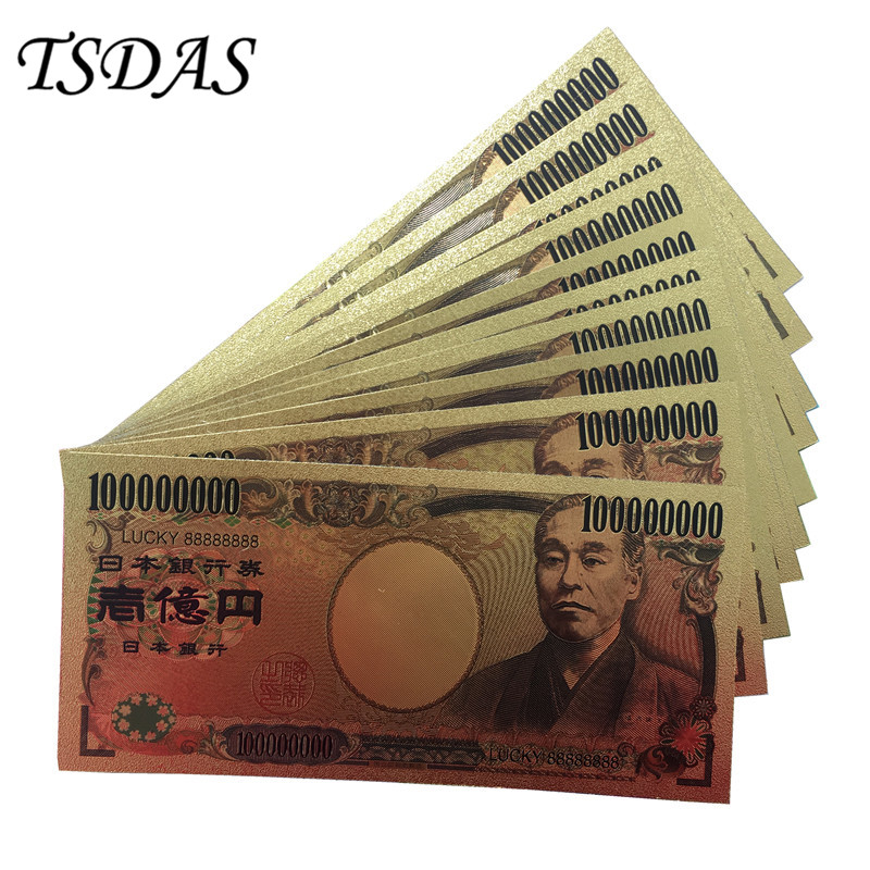 10Pcs/Lot Lucky 88888888 Color Japan Gold Banknote 100 Million Yen Banknotes in 99.9% Gold Plated For Collection