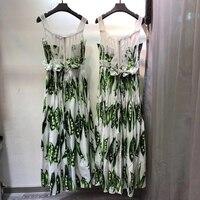 Luxury Runway Fashion Spaghetti Dress Ladies Top Brand Peasecod Print High Waist Cotton Maxi Sling Dress