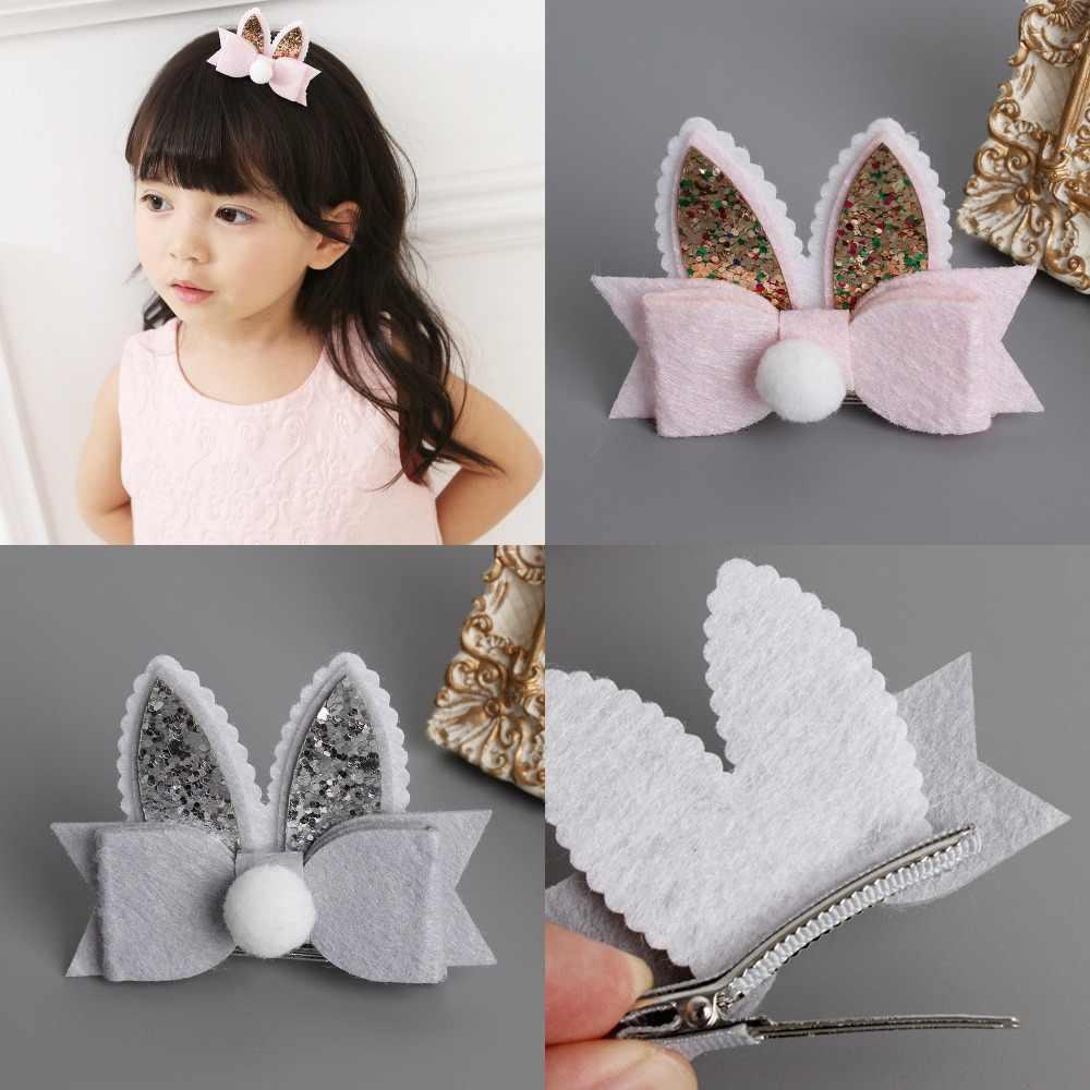 5a08af06a256 Baby Toddler Girls Easter Bunny Hair Clip, Glitter bunny ears hair bow  Clips DIY Hair