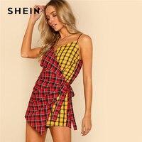 SHEIN Two Tone Plaid Wrap Cami Romper V Neck Spaghetti Strap Sleeveless Women Checked Playsuits Casual