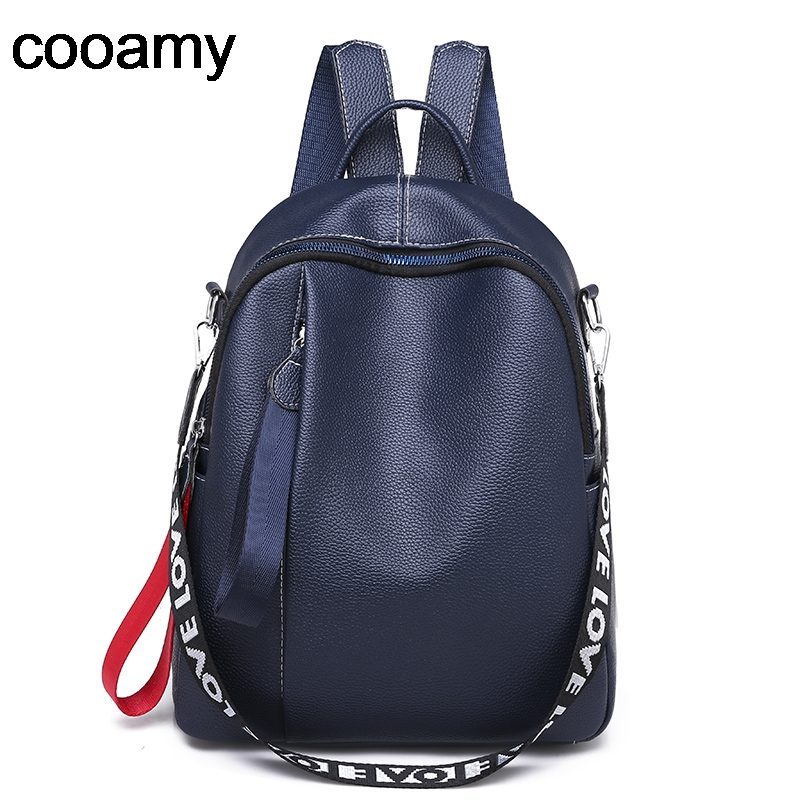 Women PU Leather Backpack Soft Large Capacity Travel School Bag Lady Teenage Shoulder Fashion Leisure Daily Backpack Casual image