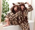 Mulher e Homem Leopardo animal Pijamas pijamas tops + calças