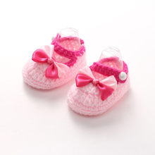 Hot Newborn Children'S Bow Knit Baby Shoes Girl Boy Children'S Knit Bed Shoes Soft Casual Baby Bootees Buty Dziecko #L5(China)