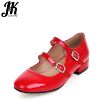 J&K Big Size 34-43 New Brand Shoes Woman Fashion Thick Heels Square Toe Spring Pumps Buckle Charm Leisure All Match Women Pumps