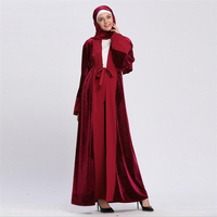 0c5ddb20a5502a8 2019 Fashion Arab Turkish Dubai Abaya Women Velvet Islamic Clothing Open  Front Bandage Muslim Kaftan Dress