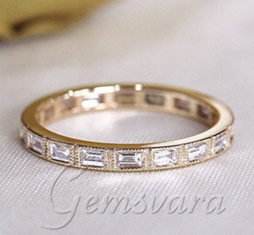 New Design Unique Baguette Diamond Jewelry 14K Yellow Gold Wedding Ring Band Full Eternity Promise