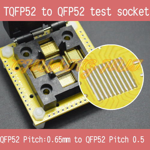 IC TEST FPQ52 LQFP52 to QFP52 test socket QFP52 0.5mm to QFP52 0.5mm IC socket tms320f28335 tms320f28335ptpq lqfp 176