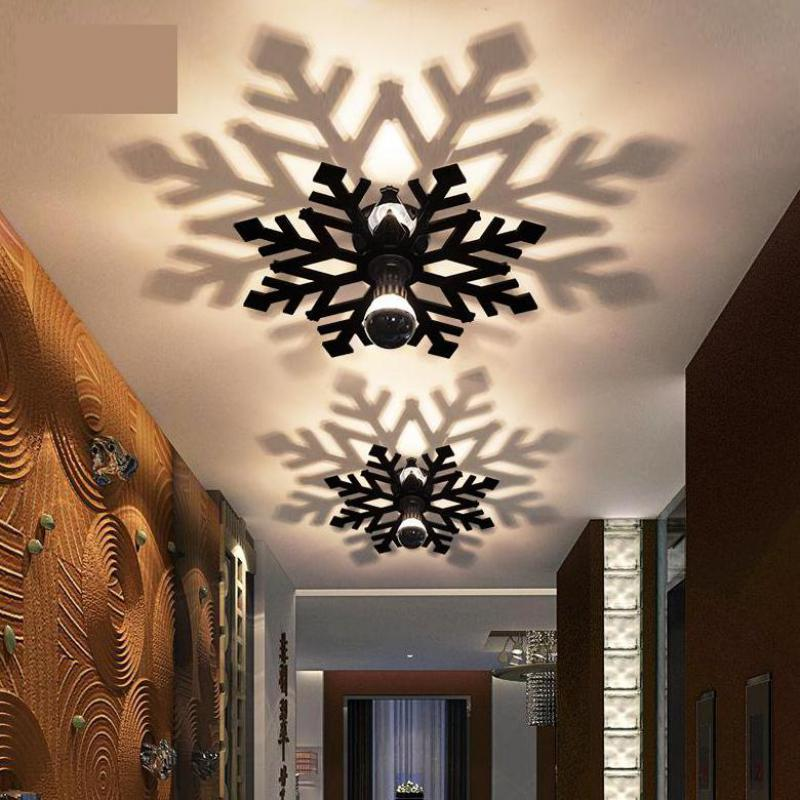 Modern Led snowflake wall fixture porch light Bedroom ceiling fixtures Corridor Balcony Wall sconce Home colored Acrylic Shadow fumat stained glass ceiling lamp european church corridor magnolia etched glass indoor light fixtures for balcony front porch