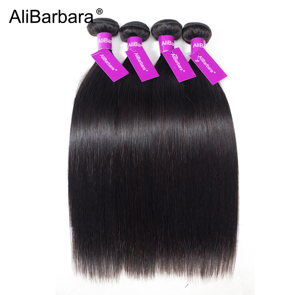 AliBarbara Hair Products 4 Bundles Straight Peruvian Hair Human Hair Weave Extension Natural black 1B# 8-28 inch Double Weft