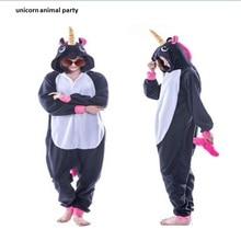 Kigurumi Adult Animal Sleepsuit Pajamas Costume Cosplay Unicorn Onesie black Jumpsuits Rompers hoodies Carnival Party Christmas