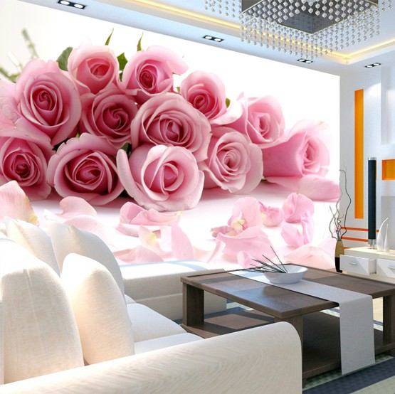 Online buy wholesale pink rose wallpaper from china pink for 3d rose wallpaper for bedroom