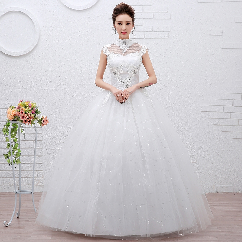 Beauty Emily Cheap Whte Tulle Wedding Dresses 2020 Ball Gown High Lace Up Beading Appliques Wedding Celebrate Party Bridal Dress