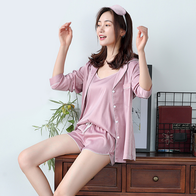 5 Pieces Pearly Silk Pajama Sets Women Night Suit Korean Style Women Pajamas Spring Autumn Summer