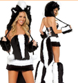 Free Drop Shipping Halloween Costume Adult Women Sexy Animal Fancy Dress Party Cosplay 4 PCS Costume Winter Cosplay Christmas