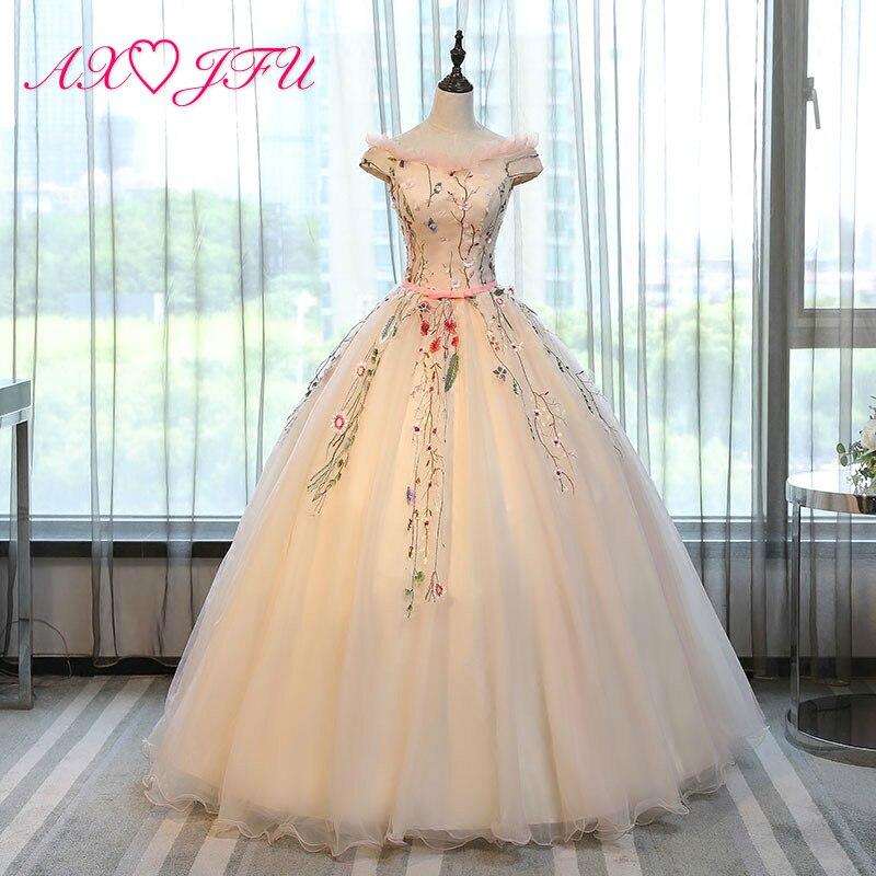 AXJFU princesse fleur dentelle rose robe de soirée volants fleur bleu robe de soirée noeud robe de soirée rose robe de soirée NY249