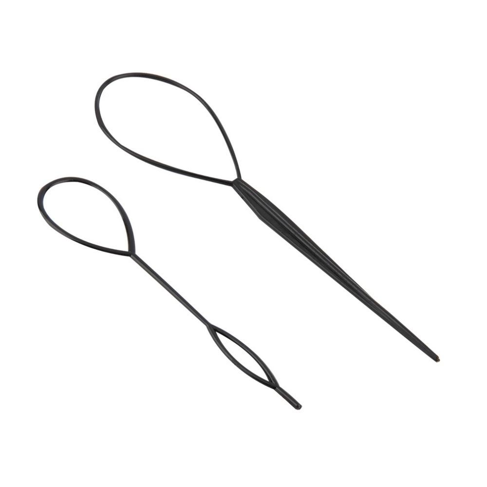 2 pcs Ponytail Creator Plastic Loop Styling Tools Black Topsy Pony topsy Tail Clip Hair Braid Maker Styling Tool Fashion Salon 3
