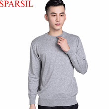 Sparsil Men's Winter&Autumn Cashmere Blend Sweaters O-Neck Knitted Sweater Male Solid Colors Warm Pullover High Quality