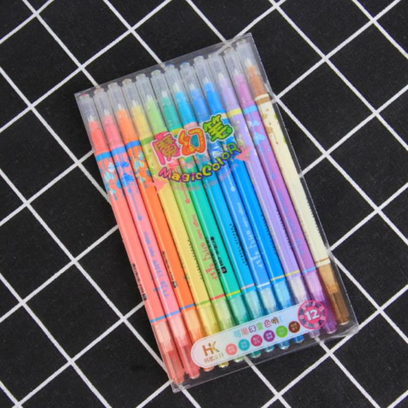12pcs/lot Cute Discolor Highlighters Color Double Head Fluorescent Pen Marker Writing Pen for School Supplies Student Stationery