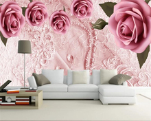 beibehang Customized living room wedding decoration 3d wallpaper stereo romantic rose silk TV background wall