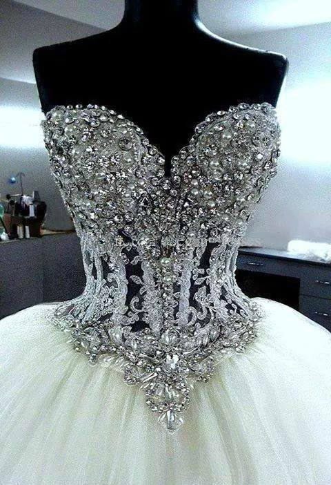 Online Shop New Arrival 2015 Classic Fashion Ball Gown Corset Wedding Dress With Rhinestone Bodice Bridal Puffy Skirt Tulle