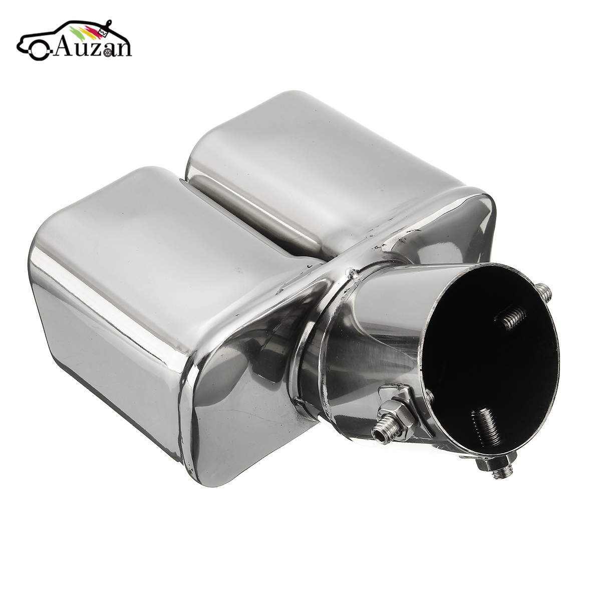 Universal Twin Double Dual Chorme CURVED Exhaust Tailpipe Tail Pipe End Trim Tip Muffler Finish Cover 32-58mm 304Stainless Steel