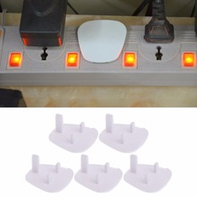 New 5Pcs UK Power Socket Outlet Mains Plug Cover Baby Child Safety Protector Guard White Color