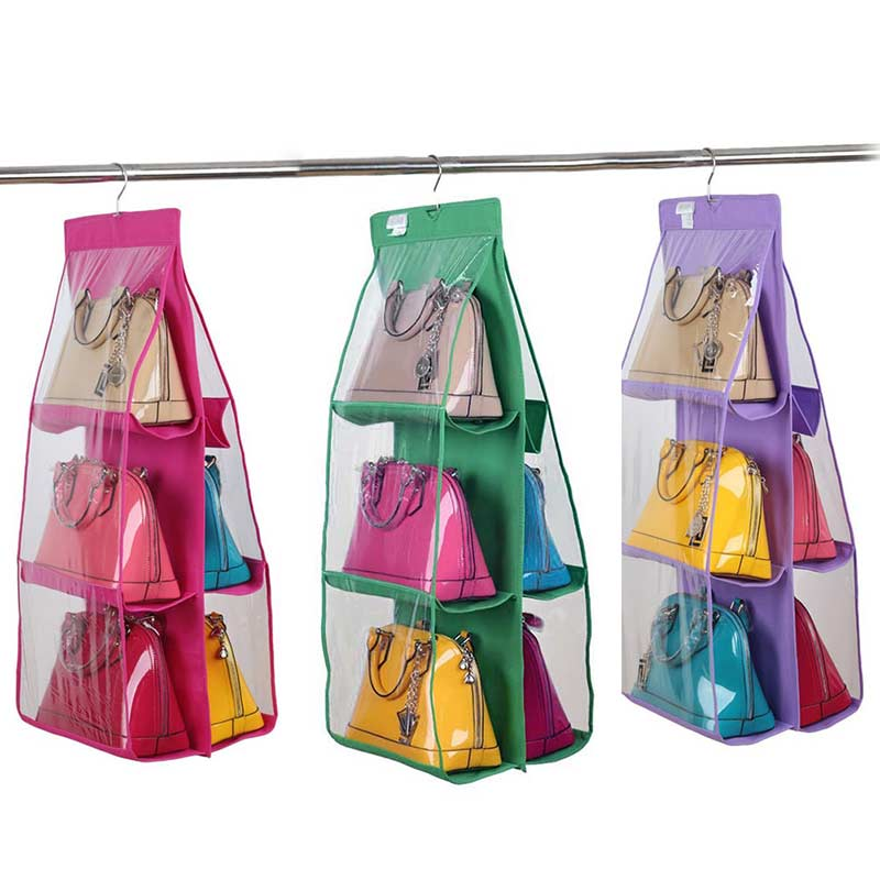 Fashion 6 Large Pocket Clear Handbag Hanging Storage Organizer Closet  Hanger E2S