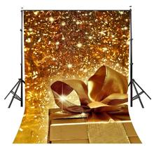 5x7ft Gift Box Backdrop Shining Dreamy Golden Photography Background and Studio Props