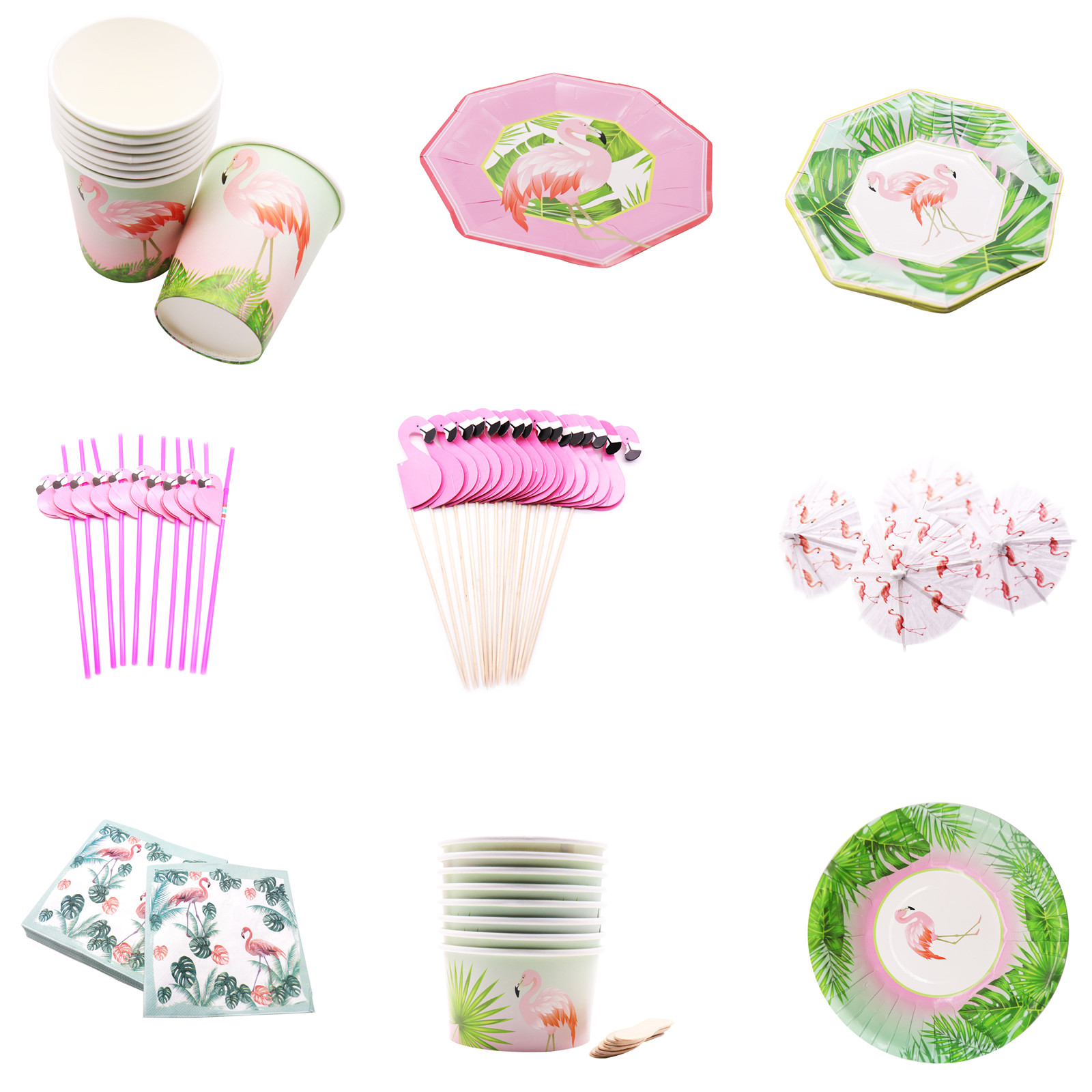 Pack of 10pcs Paper Stripe Flower Straw Hawaiian Tropical Summer Party Decor