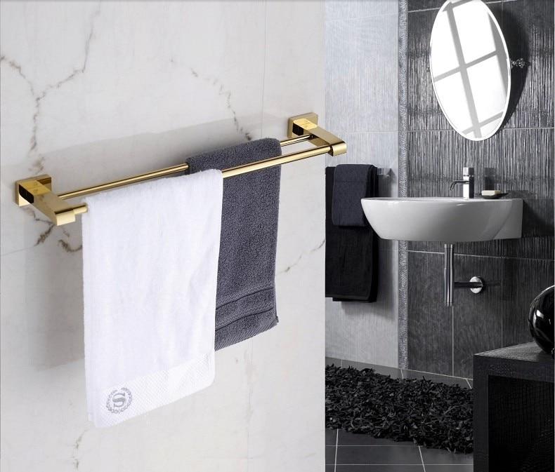 цена на 60cm Free shipping brass gold towel bar double bars bathroom fixture hangingsr