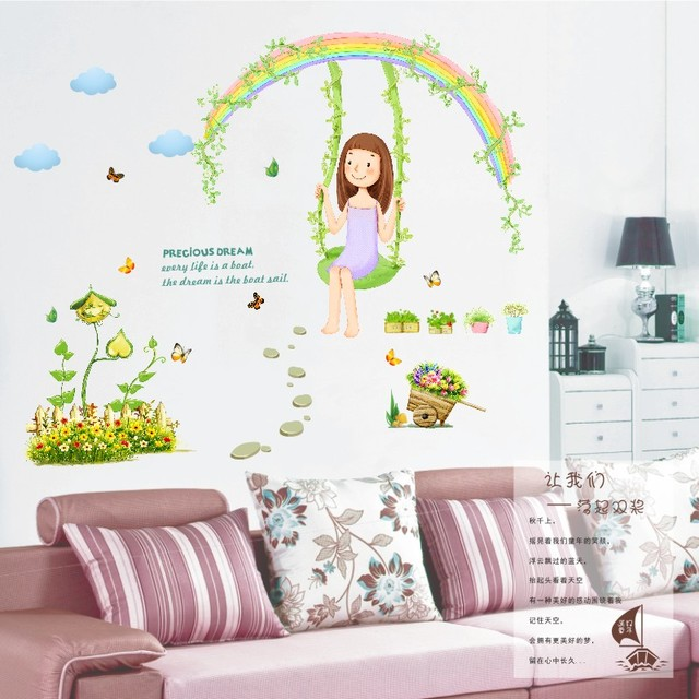 Rainbow Swing Cozy Living Room TV Background Wall Sticker Bedroom  Childrenu0027s Room Wall Stickers Nursery Classroom
