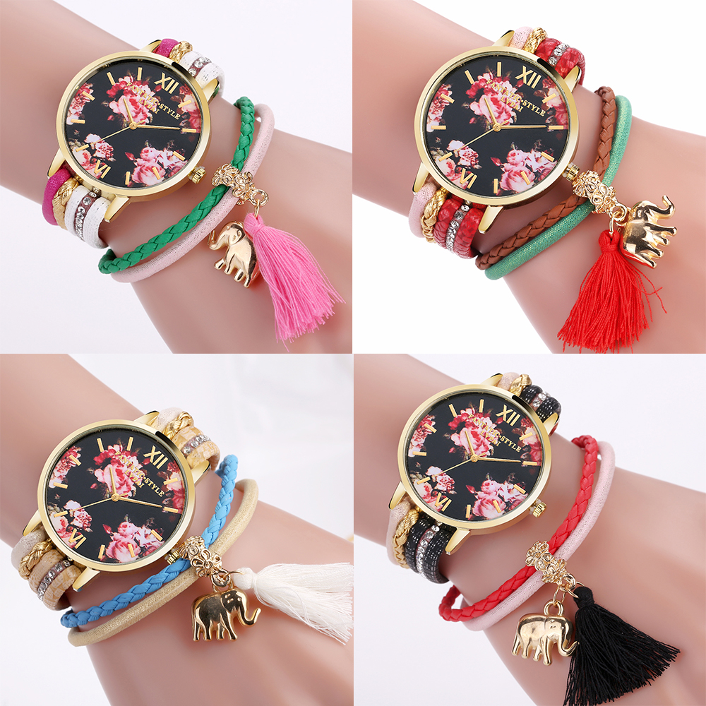 Fashion 2019 Watches  Women Popular Quartz Watch   Luxury Colorfu Bracelet Flower Wristwatch Casual Bracelet Watch
