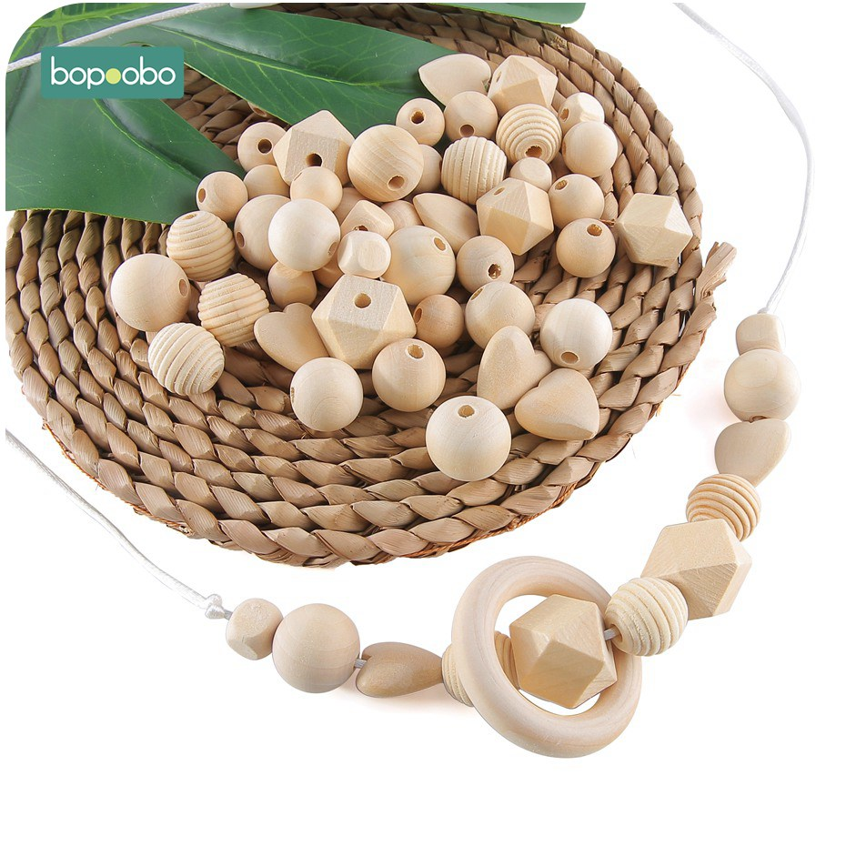 Bopoobo 45PC Baby Teether  Wooden Beads Nursing Accessories Children Training Toys DIY Starter Kits  Baby Wooden Teethers