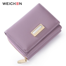 WEICHEN Brand Design Trifold Small Wallet Women Many Departments Female Wallets Ladies Short Purse Slim Carteira High Quality 2018 magic trick flame fire wallet slim short high quality wallet men brand wallets leather purse magica carteira masculina 40