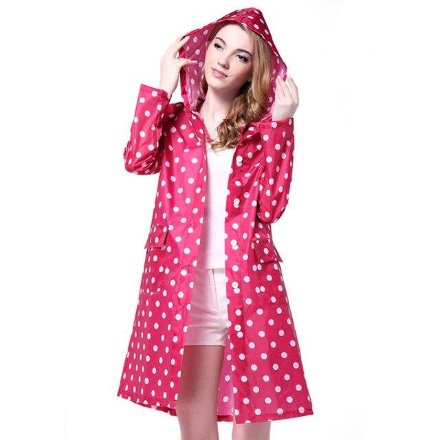 41f38ff2d7 Punkte Muster Frauen Mit Kapuze Regenmantel Mädchen Damen Außen Travel  Wasserdicht Regen Mantel für Frauen Poncho