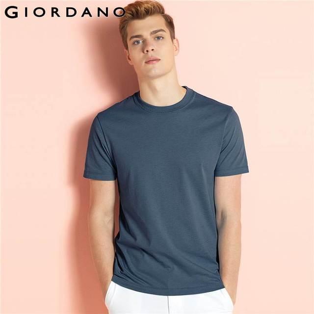 Giordano hombres camiseta hombres marca ropa camiseta manga corta Poleras  Hombre Crewneck camiseta Casual camiseta hombres f4980aefd66