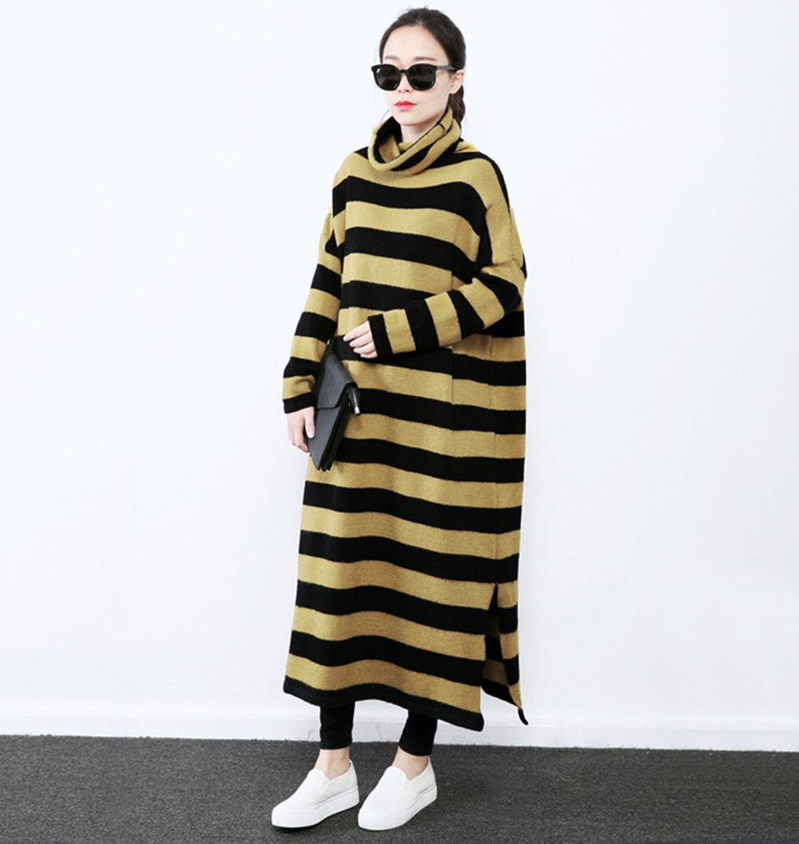 XITAO 2016 Korea fashion women Long striped loose pullover sweater casual female turtleneck batwing sleeve