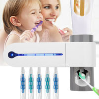 3-in-1 UV-Licht Uv Zahnbürste Halter Sterilisator Automatische Zahnpasta Orangenpressen Dispenser Startseite Bad Reiniger Set