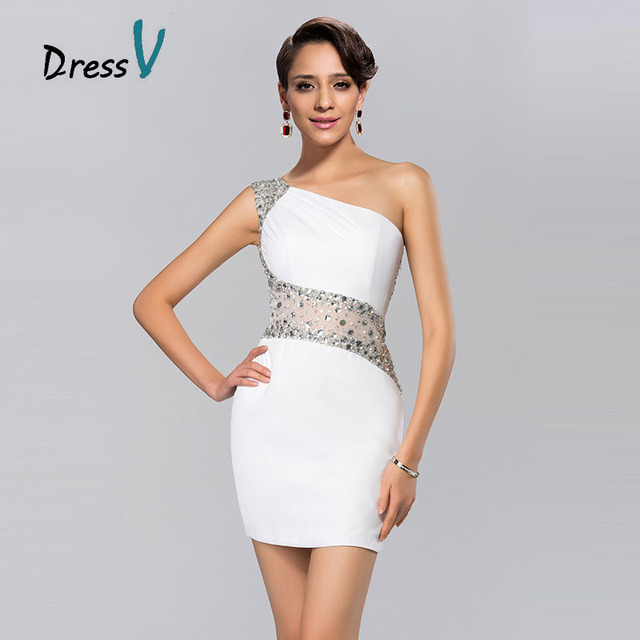 Hot Trendy Short White Cocktail Dresses One shoulder Sheer Beaded ...
