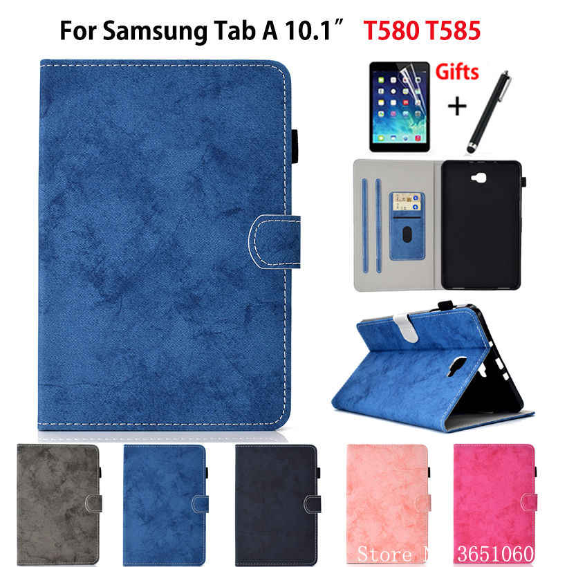 "SM-T585 Tablet Case For Samsung Galaxy Tab A a6 10.1"" 2016 T580 T585 SM-T580 T585N Cover Funda Stand Coque Capa Shell +Film+Pen"