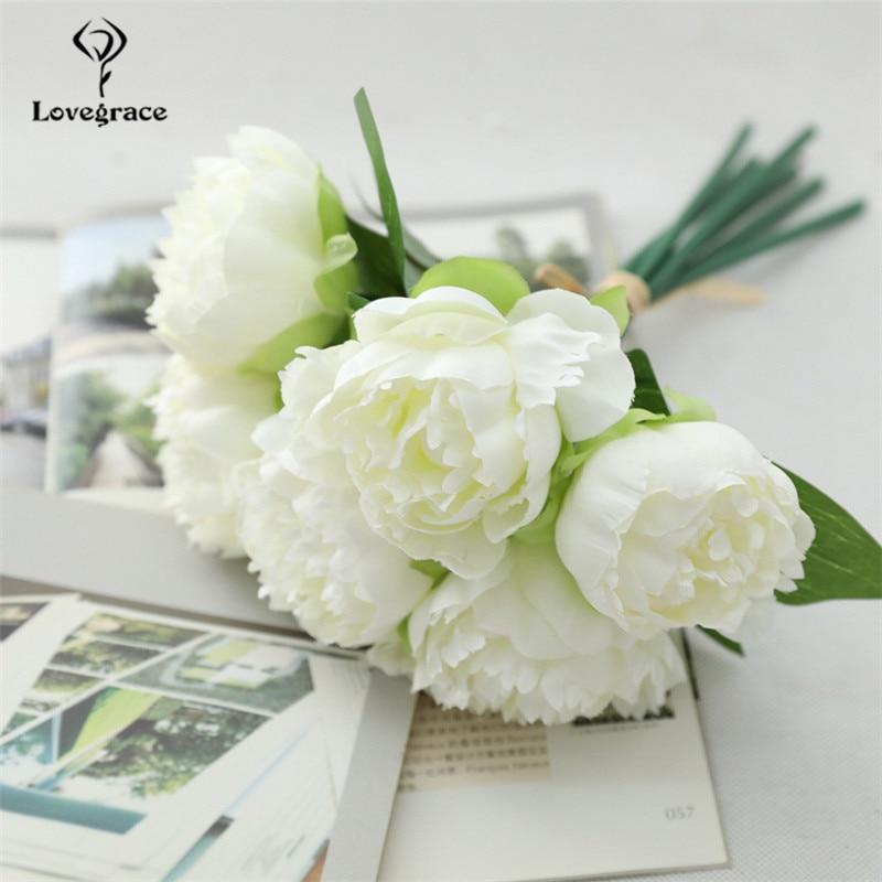 6 Heads Rose Wedding Bouquet Silk Artificial White Flowers Bridal Bouquet DIY Marriage Bouquets Wedding Centerpiece Floral Decor