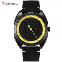 Collared Carpet Shark Sport Men Watch NEW Yellow Bezel One Simple Hand Design Leather Fashion Wristwatch
