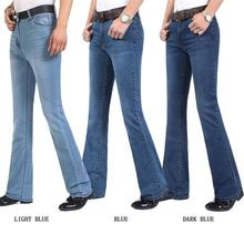 Darmowa wysyłka męska wysokiej jakości Business Casual jeansy typu Boot Cut średnio wysoka talia flary pół rozszerzone spodnie rozszerzane Plus rozmiar 27 38