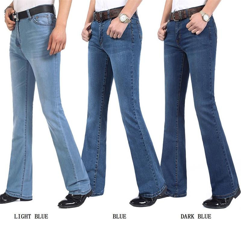 Us 31 27 12 Off Free Shipping Men S High Quality Business Casual Boot Cut Jeans Mid Waist Flares Semi Flared Bell Bottom Pants Plus Size 27 38 In